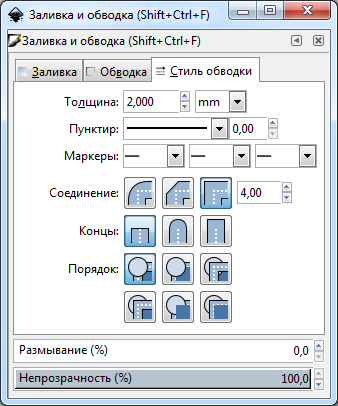 Inkscape tool Shift Ctrl F line style