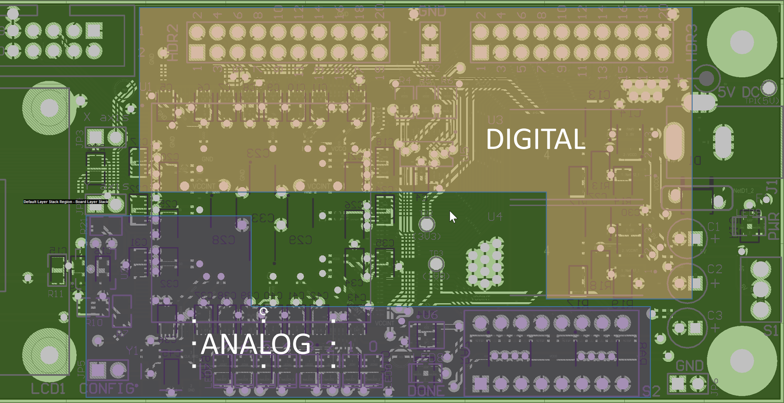 PCB separate Digital Analog