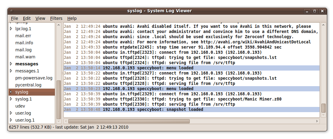 SpeccyBoot syslog