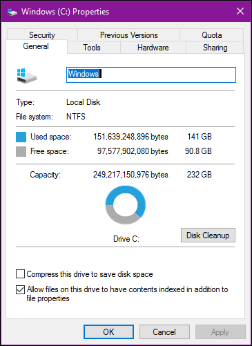 observe used disk space1