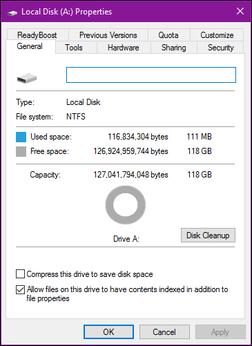 observe used disk space2