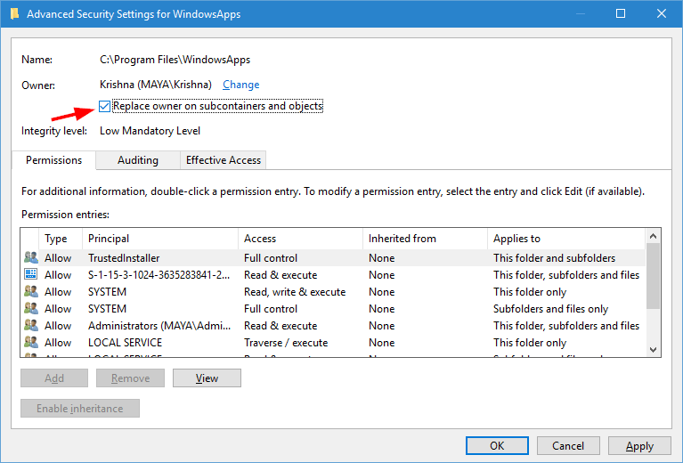 windowsapps folder apply permission changes