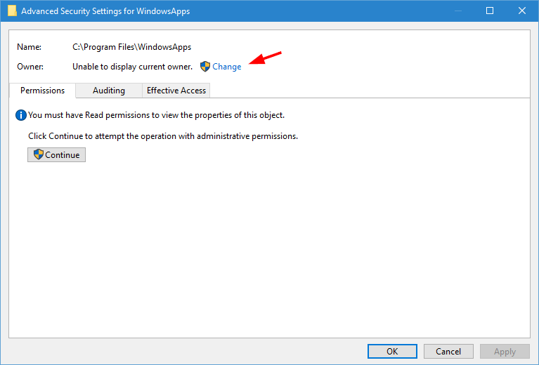 windowsapps folder click change