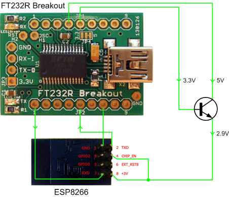 ESP8266 connection FT232RL