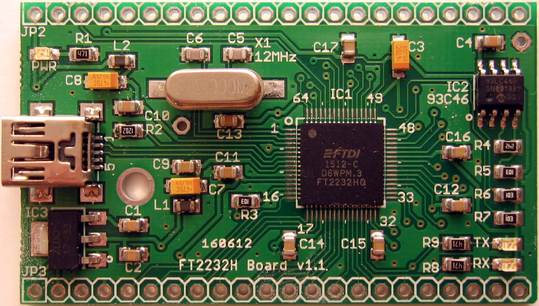 FT2232H Board without maket fields TOP