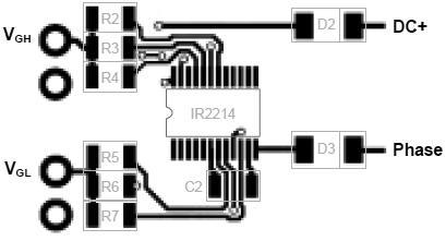 IR2214 PCB layout example TOP fig24a