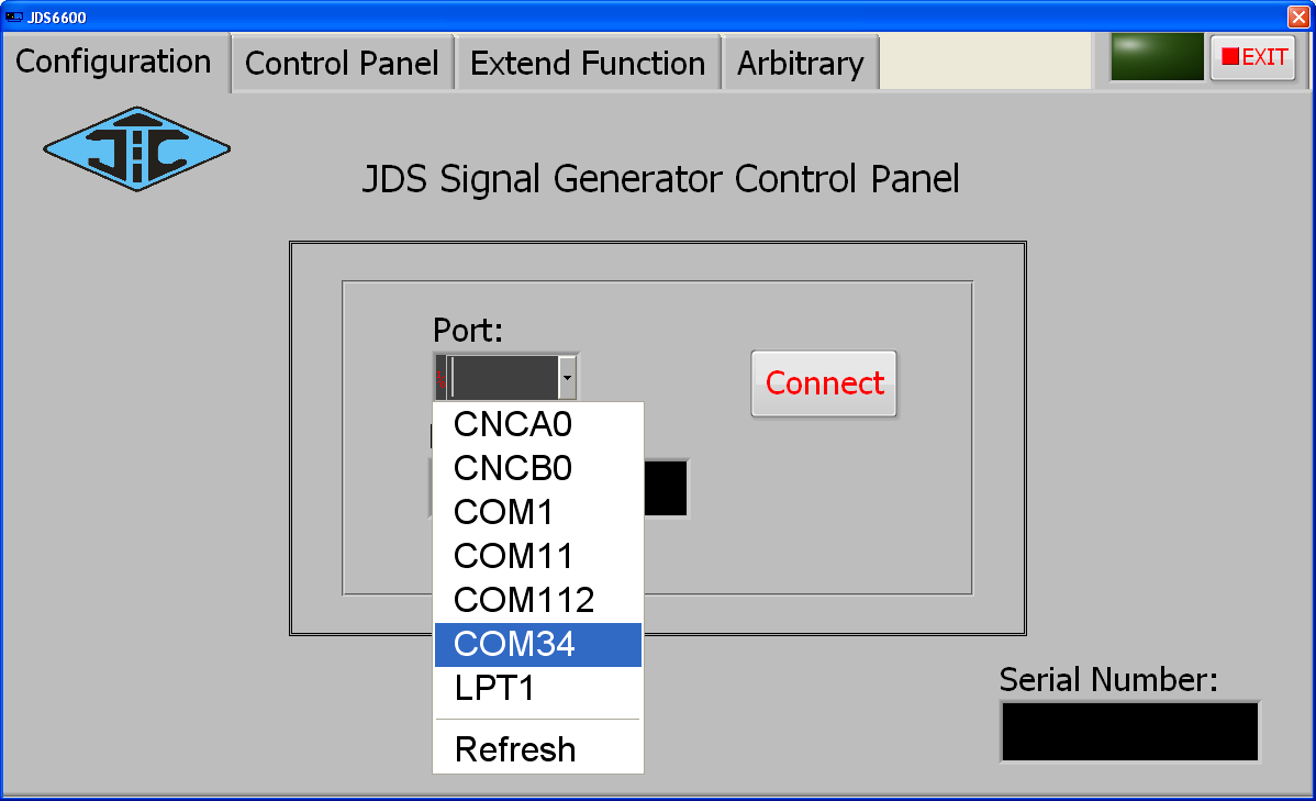 JDS6600 app select port