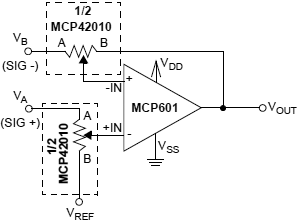 MCP4XXXX single supply differential amplifier fig4 7