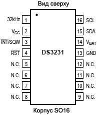 DS3231 SO16 pinout