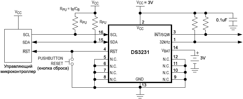 DS3231 typical circuit
