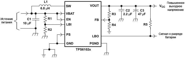 TPS6102x Parameter Measurement Schematic fig11