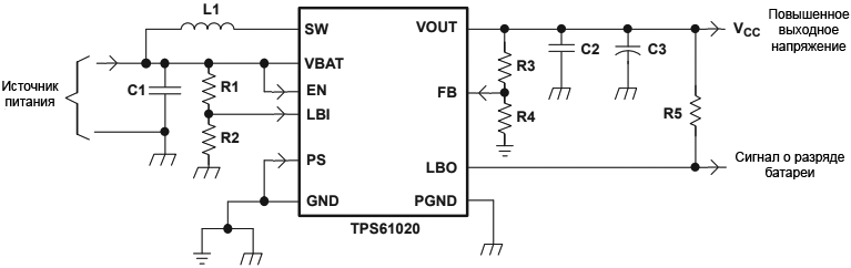 TPS6102x Typical Application Adjustable fig13