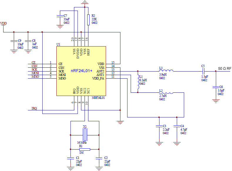 nRF24L01plus schematic for RF layouts fig32