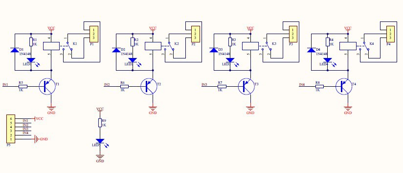 no optocoupled 4relay board 5V sch
