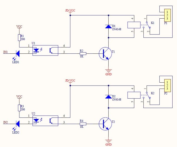 optocoupled 4relay board 5V sch1