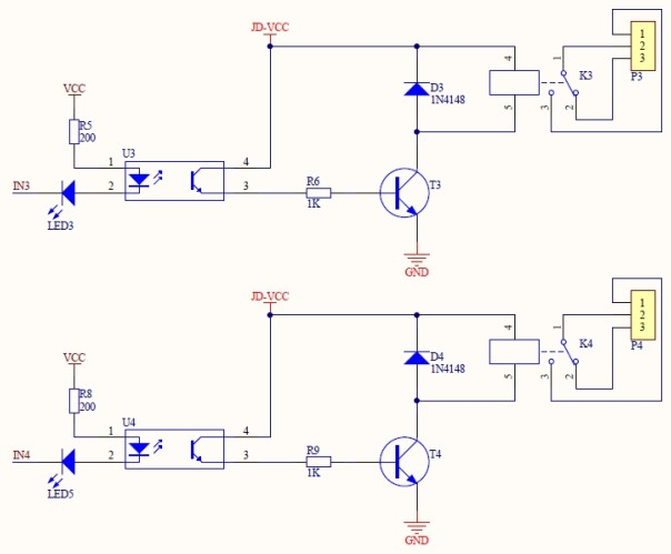 optocoupled 4relay board 5V sch2