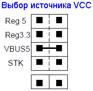 AVR273-STK525-VCC-jumpers