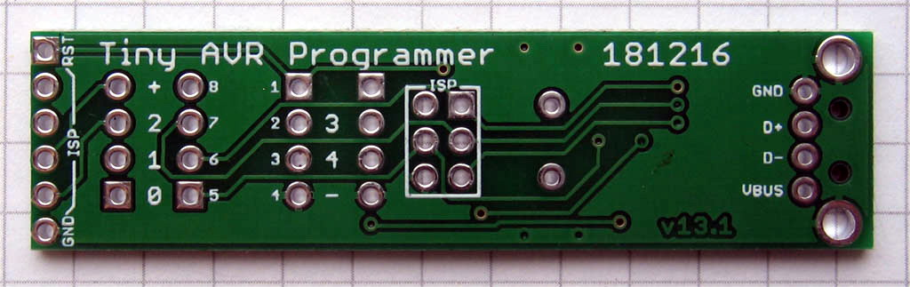 Tiny AVR Programmer PCB bottom