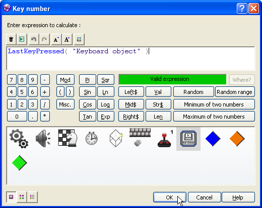 Clickteam Fusion Insert Keyboard Object condition Upon Key Down LastKeyPressed