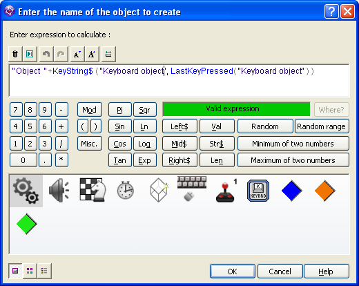 Clickteam Fusion Keyboard Object Action Create Object By Name expression