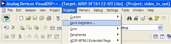 Blackfin EE 307 Save Registers feature