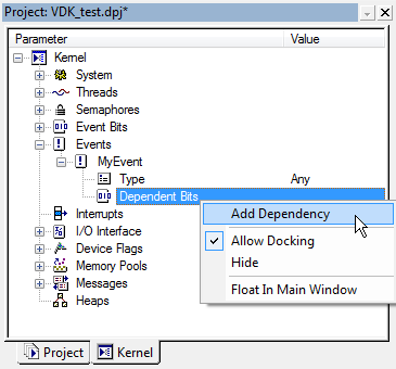 VDK Event dependency context menu fig321