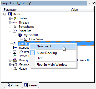 VDK Events context menu fig319