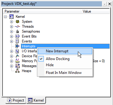 VDK Interrupts context menu fig324