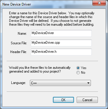 VDK New Device Driver dialog fig328
