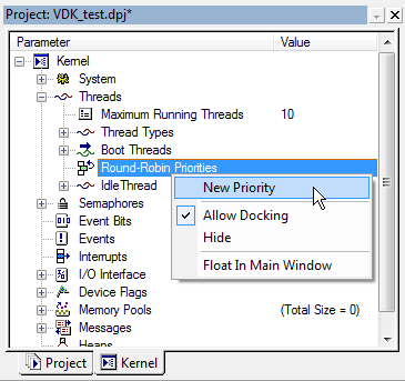 VDK Round Robin Priorities context menu fig312