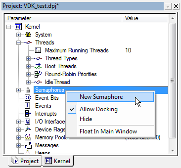VDK Semaphores context menu fig315