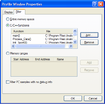VisualDSP Profile Window Properties Filter tab