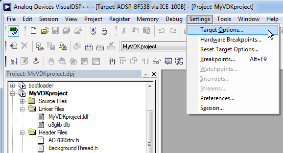 VisualDSP Settings Target Options
