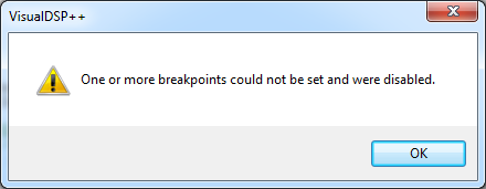 VisualDSP err disabled breakpoints