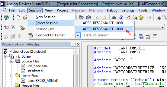 VisualDSP select debug session