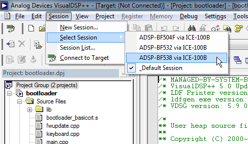 VisualDSP select debugger session