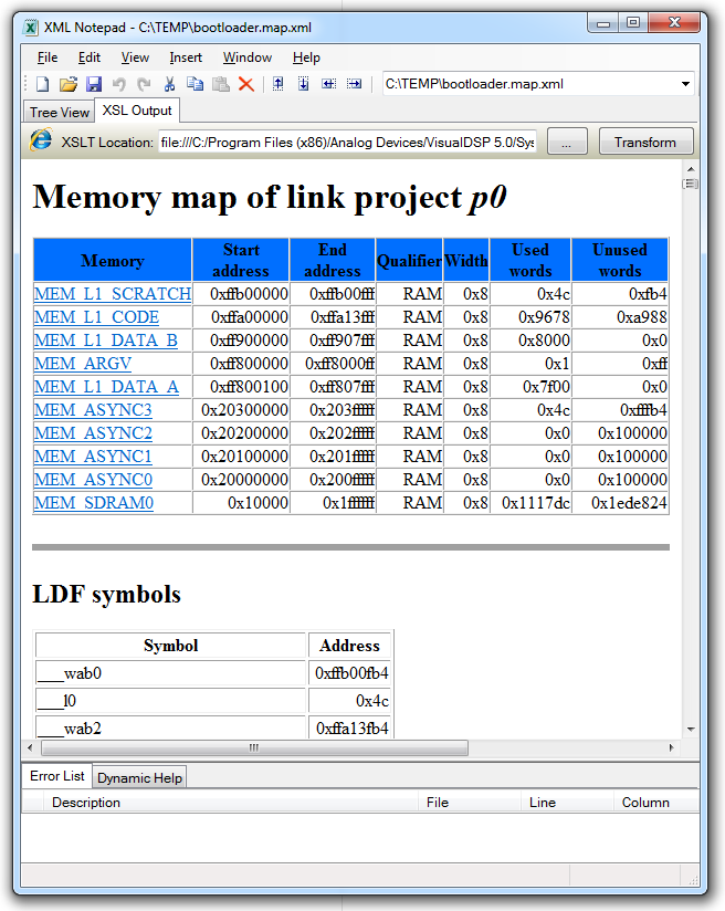 linker MAP file in Microsoft XML Notepad2