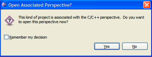 Eclipse Asking Open C Perspective fig5 11