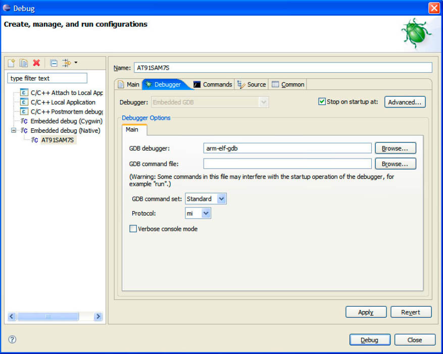 Eclipse Debugger Configuration Tab fig5 19