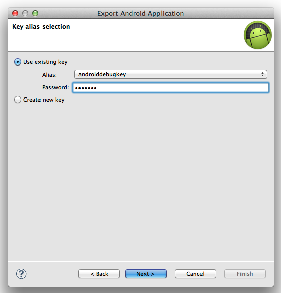 Eclipse-Export-select-key-alias