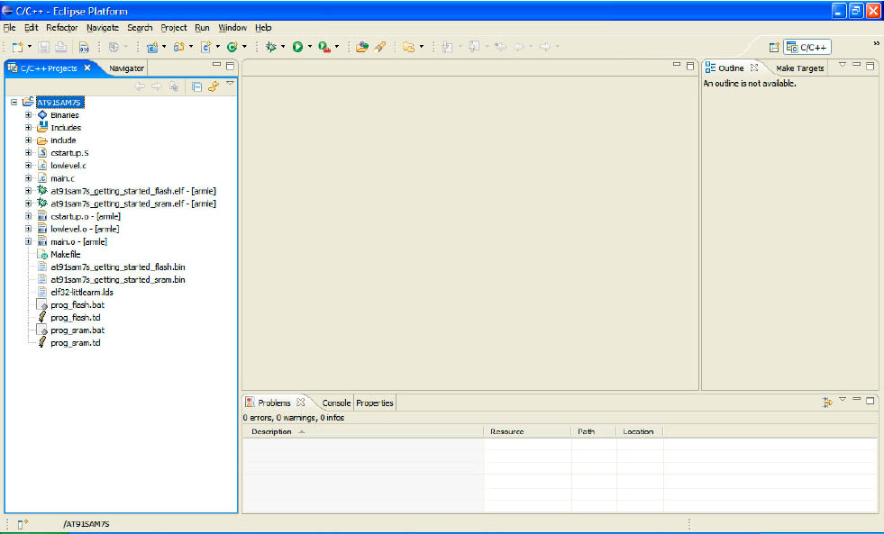 Eclipse Main Window After New Project Creation fig5 12