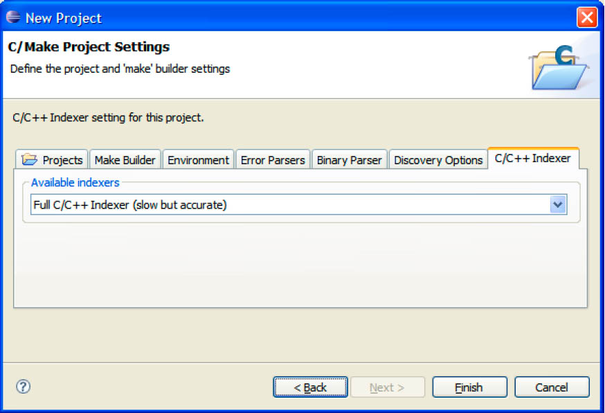 Eclipse Project Wizard Indexer Settings fig5 10