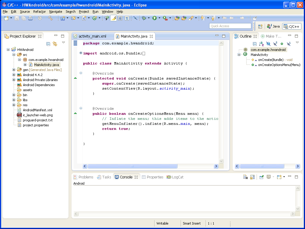 Eclipse-main-work-window