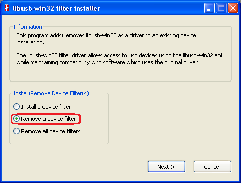 LibUSB filter driver delete WindowsXP 32bit