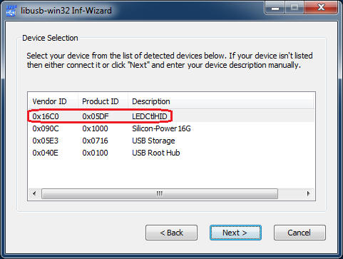 LibUSB filter driver wizard02