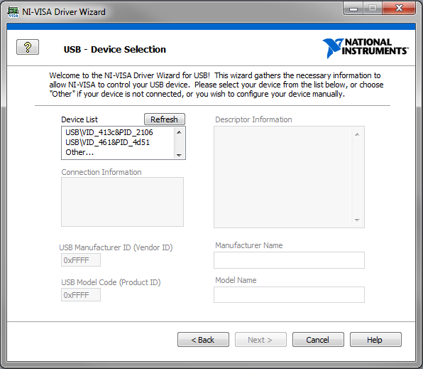 NI VISA Driver Wizard USB Device Selection fig02
