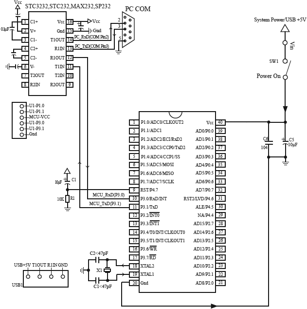 STC12C5A60S2 Typical Application Circuit for ISP