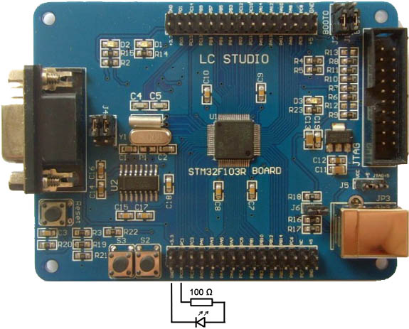 M3STM32F103R8T6STM32 board with LED PC0