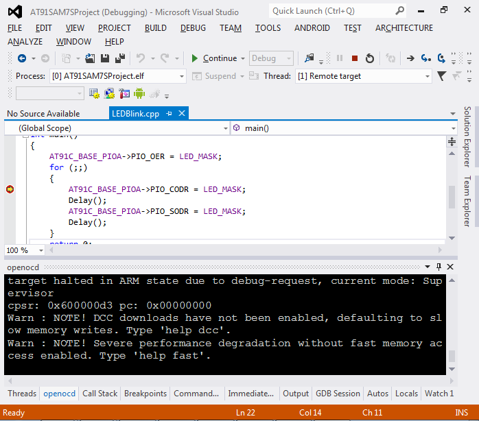 VisualStudio ARM 22 debug
