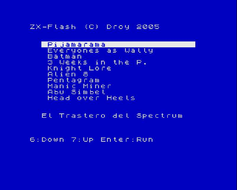 ZX Flash cart menu